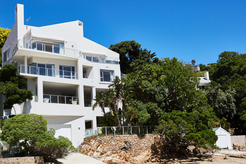 Milkwood Bay: view of house from lagoon